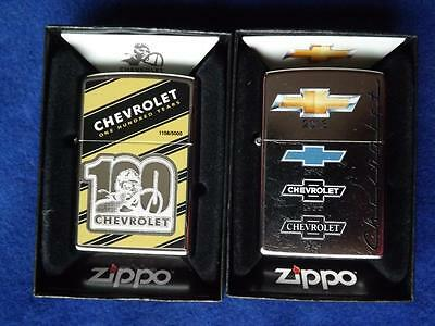 Zippo Lighter Lot Chevrolet 100 Anniversary Limited Edition Chevy Emblem Logo