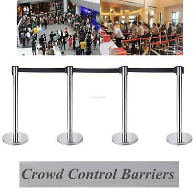 4 x Stainless Steel + Iron Base Retractable Queue Crowd Control Stretch Barriers
