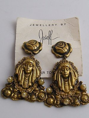 Impressivepair Art Nouveau Style Joseff Of Hollywood Signed Lady  Earrings