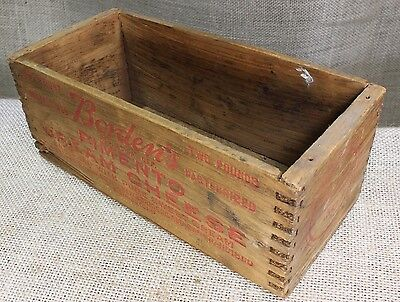 old BORDEN'S Pimento Cream Cheese wood box vintage finger joints wooden shipping