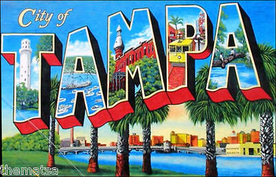 "5""  Tampa Vintage Postcard Style Helmet Bumper Toolbox Sticker Decal Usa Made"