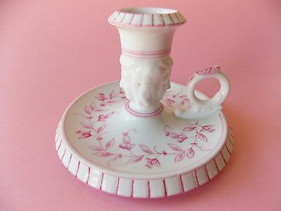 Beautiful Antique Ladies Head Porcelain Pink And White Candle Holder With Handle