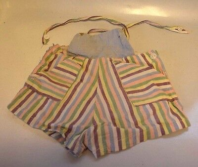 Vintage Striped Bibbed Shorts With Straps Over Shoulders & Pockets