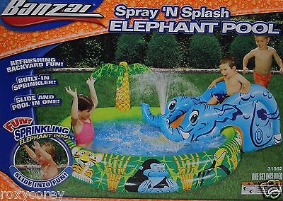 Banzai Spray N Splash Elephant Pool Refreshing Backyard Fun 82x58x27 Ages 2+ NIB
