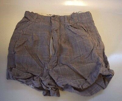 Vintage Houndstooth Plaid Shorts With Cuffs, Pockets & Front Zipper