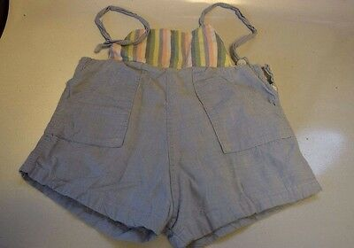 Vintage Striped & Blue Bibbed Shorts With Straps Over Shoulders & Pockets