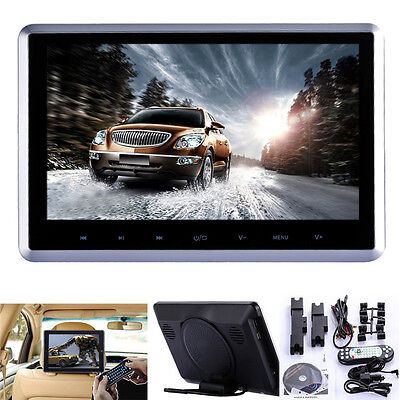 "10"" HD Digital LCD Screen Car Headrest Monitor DVD/USB/SD Player IR/FM Game"