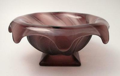 Rare Amethyst / Purple Bagley England Equinox Glass Posy Bowl Vase Art Deco