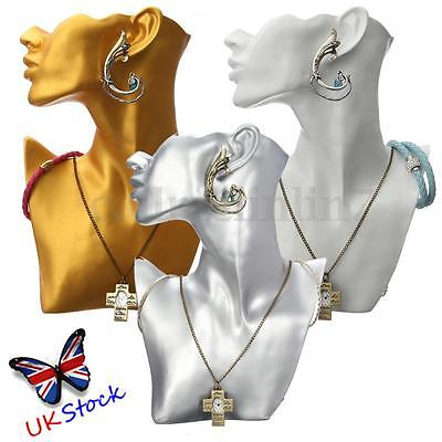 Jewelry Necklace Earring Watch Head Bust Stand Mannequin Holder Display RackUK