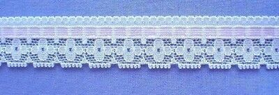 20mm White/Pink Lace