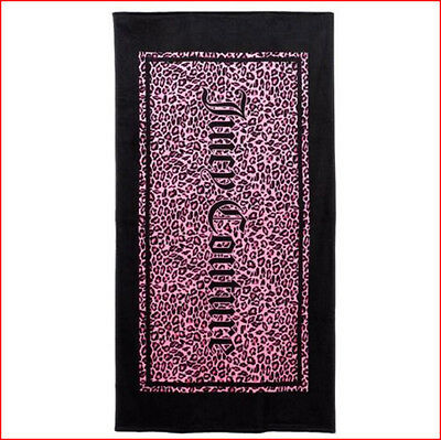 JUICY COUTURE Beach Towel - TURKISH Cotton 36 x 64 Pink LEOPARD Animal Print NWT