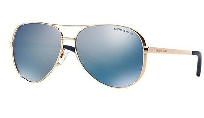 Michael Kors Gold Framed Sunglasses Mk 5004 Chelsea 100325 Women Men Blue Mirror
