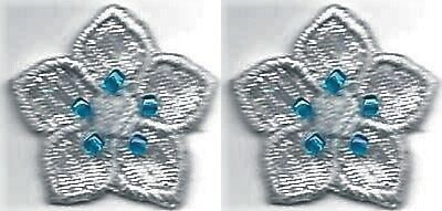 "7/8"" x 1"" Spring Iridescent Shiny Silver Blue Flower w/ Beads Patch Lot of 2"