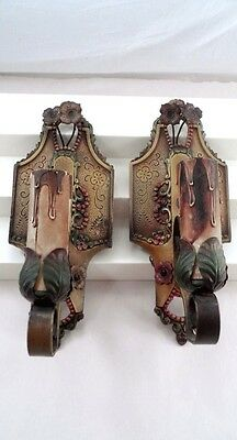2 Lincoln 904 Cast Metal Art Deco Light Sconces Orig Polychrome Paint & Flowers