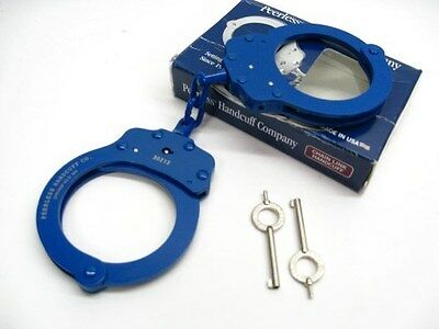 PEERLESS Navy Blue Finish 750 Chain Link POLICE HANDCUFFS + 2 Keys! 4712N