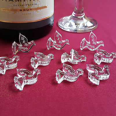 Personalised Dove Wedding Table Decorations - Mr & Mrs Acrylic Scatter Favours