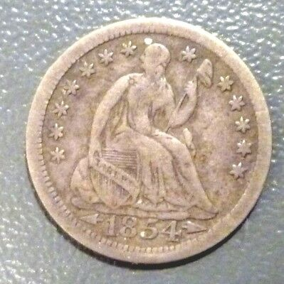 1854 Seated Liberty Half Dime With Arrows VF