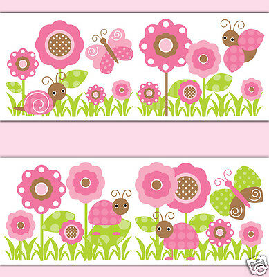 Butterfly Ladybug Wallpaper Border Wall Art Decals Girl Nursery Floral Stickers