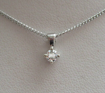"Brand New 1/10 ct Diamond Solitaire 9ct White Gold Pendant & 18"" Chain"