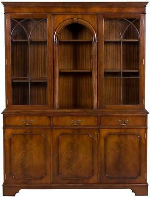 Vintage Antique Style Gothic Arch Bookcase Bookshelf Cabinet Breakfront Office