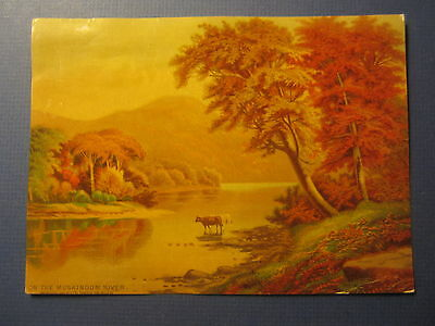 Old 1880 - On the MUSKINGUM RIVER  - Victorian Scrapbook PRINT