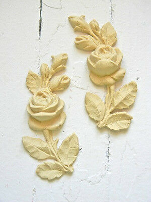 Furniture Architectural Appliques Roses (2)-Wood & Resin-Stainable-Paintable-New