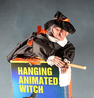 Halloween Hanging Witch Decor Anitmated Motionette VTG 1980s AS IS