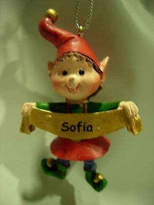 New Girls Boys Name Sofia Christmas Tree Ornament Elf Pixie Holiday Xmas Elves