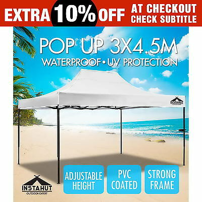 3x4.5M Outdoor Gazebo Pop Up Folding Marquee Party Stall Event Tent Canopy White