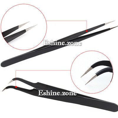 Makeup Eyelashes Tweezers Individual Extension Nail Art Nipper Curved Straight