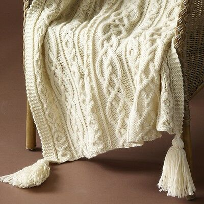 "Kisses & Hugs Aran Throw  48 x 60""  Knitting Pattern Copy"