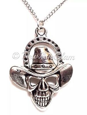 COWBOY SKULL_Pendant + Chain Necklace_Goth Skeleton Western Halloween_N60