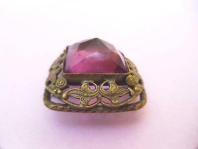 Brooch Pin Ivy nouveau Victorian Scrolled Faceted Ameythyst cabochon