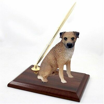 Realistic Hand Painted Border Terrier Figurine on Desk Pen Holder
