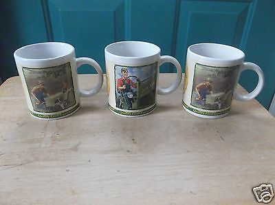 Three Ceramic 2005 Collector Series John Deere Coffee Cups Mugs