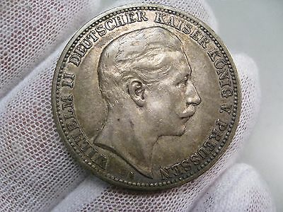 1908-A Silver 3 Mark - Prussia, Germany.