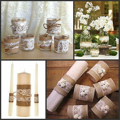 Vintage Lace Edged Hessian Burlap Ribbon Roll For Wedding Party Home Decor