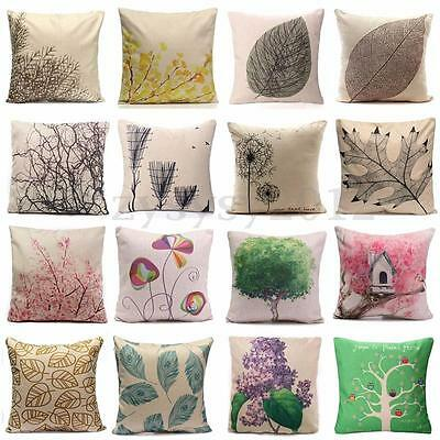 Cotton Linen Leaf Throw Pillow Case Cover Bed Sofa Pack Cushion Home Decor