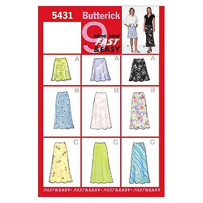 Butterick Sewing Pattern Misses' A-Line  Skirt Skirts A-Line Size 6 - 22 B5431