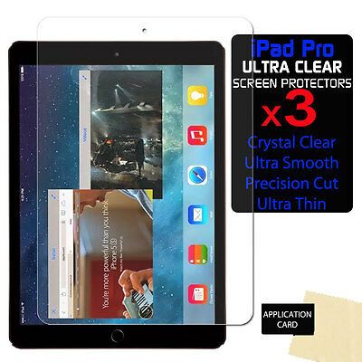 """3x Apple iPad Pro (9.7"""") ULTRA CLEAR LCD Screen Protector Cover Guards Shields"""