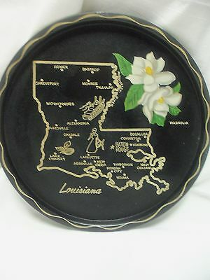 Vintage Metal State Collector PLATE w/ Map & Highlights LOUISIANA