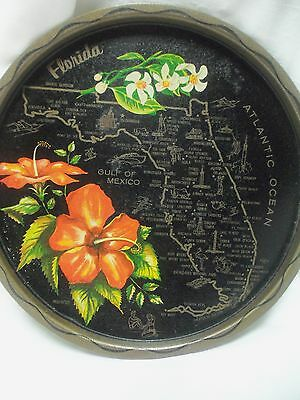 Vintage Metal State Collector PLATE w/ Map & Highlights FLORIDA