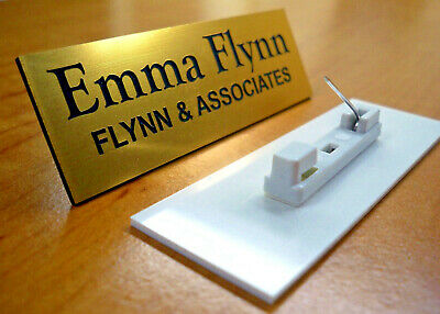 Custom Engraved 1x3 Gold Name Tag | Badge & Pin | Employee Identification Plate