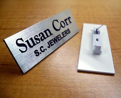 Custom Engraved Silver Name Tag | Badge & Pin | Employee Identification ID Plate