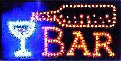 Ultra Bright  LED Neon Light Animated MOTION WINE BEER BAR Sign L02