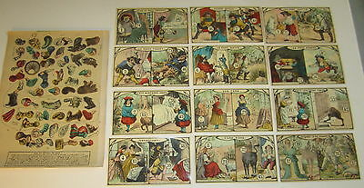 Set of 12 - Old c.1910's Antique French Game PRINTS - FAIRY TALES - Complete Set