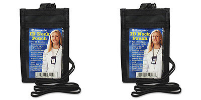 Black VERTICAL ID Neck Pouch With Adjustable Lanyard, 2 Packs