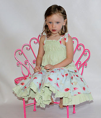 VGUC Custom Boutique Resell Blue/Green Floral Spring Top/Skirt Set 2T, 3T, 4T