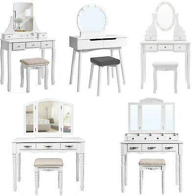 Songmics White/Pink Dressing Table with Mirror Stool Wood Make-up bedroom desk