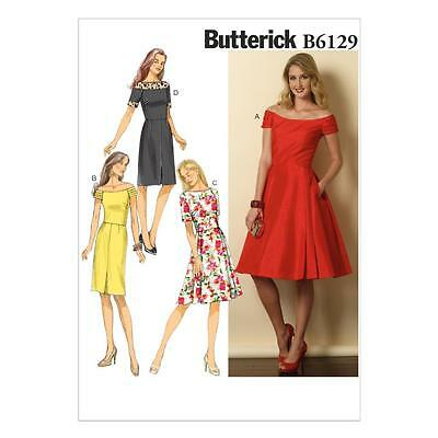 Butterick Sewing Pattern Misses' Dress Fitted Bodice Sizes 8 - 22 B6129